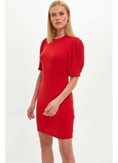 DeFacto Balon Kol Örme Elbise Kırmızı